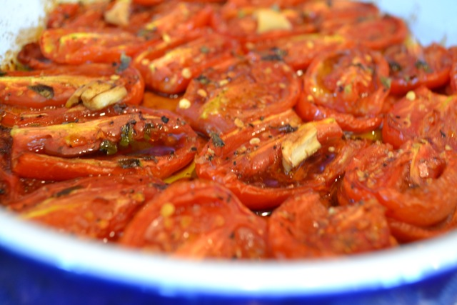 Oven-roasted San Marzano tomatoes