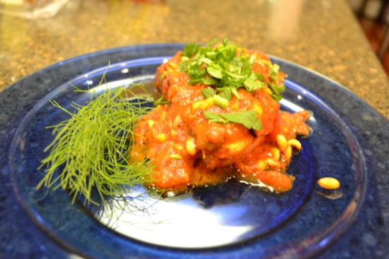 Halibut with Tomato and Pine Nut Sauce