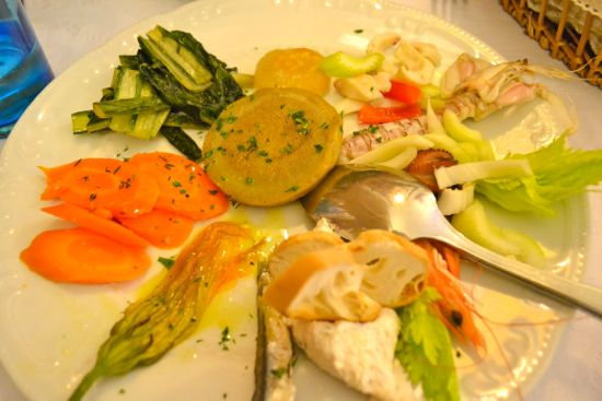 Mixed vegetable and seafood antipasti at Da Fiore
