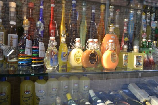 Limoncello bottles in a shop window