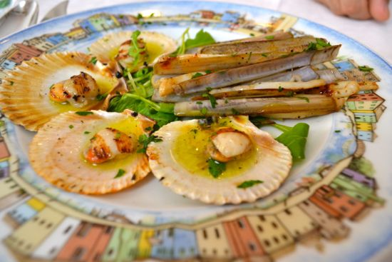 Scallops and razor clams