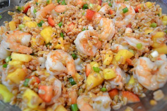 Farro Salad with Shrimp, Strawberries and Pineapple