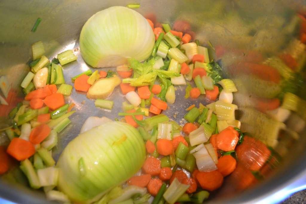 veggies in stock pot
