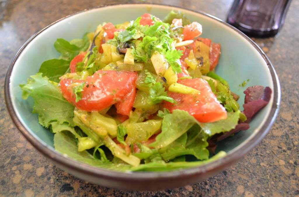 Green salad with lime cilantro dressing