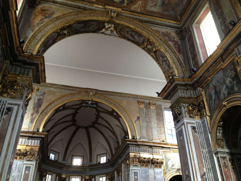 San Paolo Maggiore: blank walls and ceilings which once were covered with fresco painting and marble.