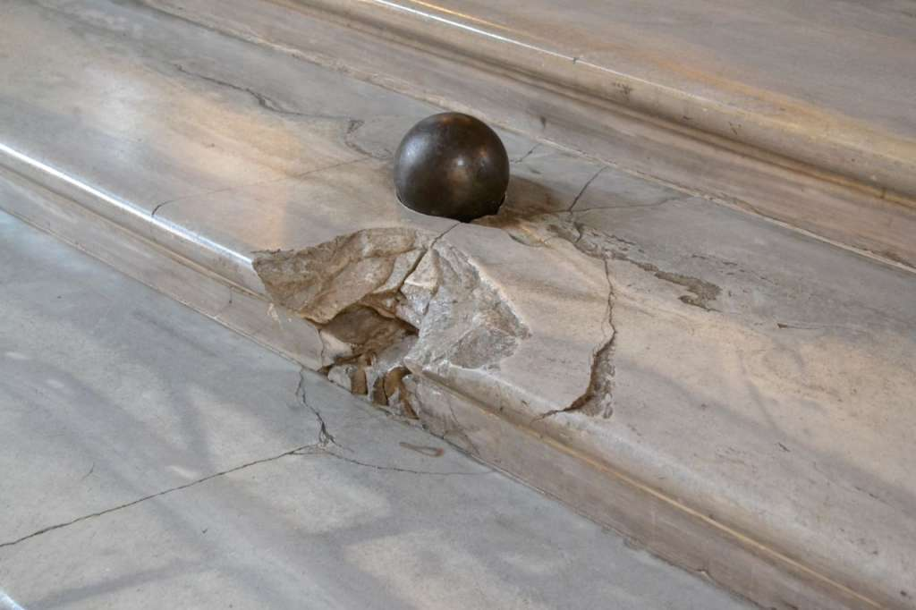 And a cannon ball lodged in the ballroom steps, just for good measure.