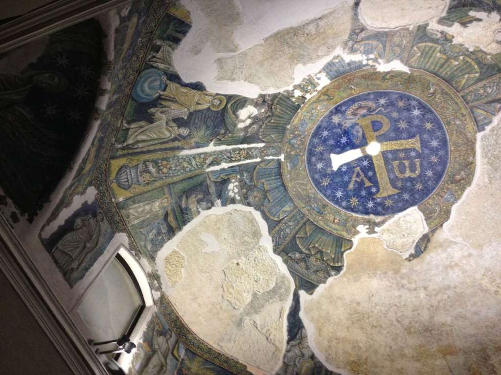 The 4th century mosaic ceiling in the Duomo's baptistery—the oldest baptistery in the Western world.