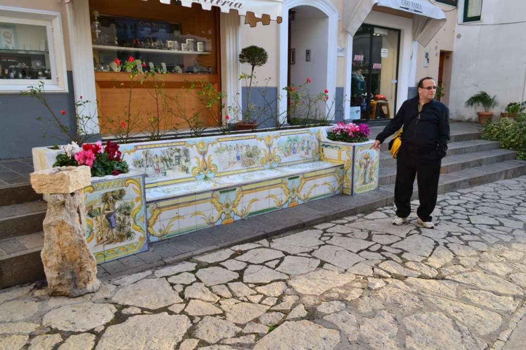 Even the public benches in Anacapri are beautiful.