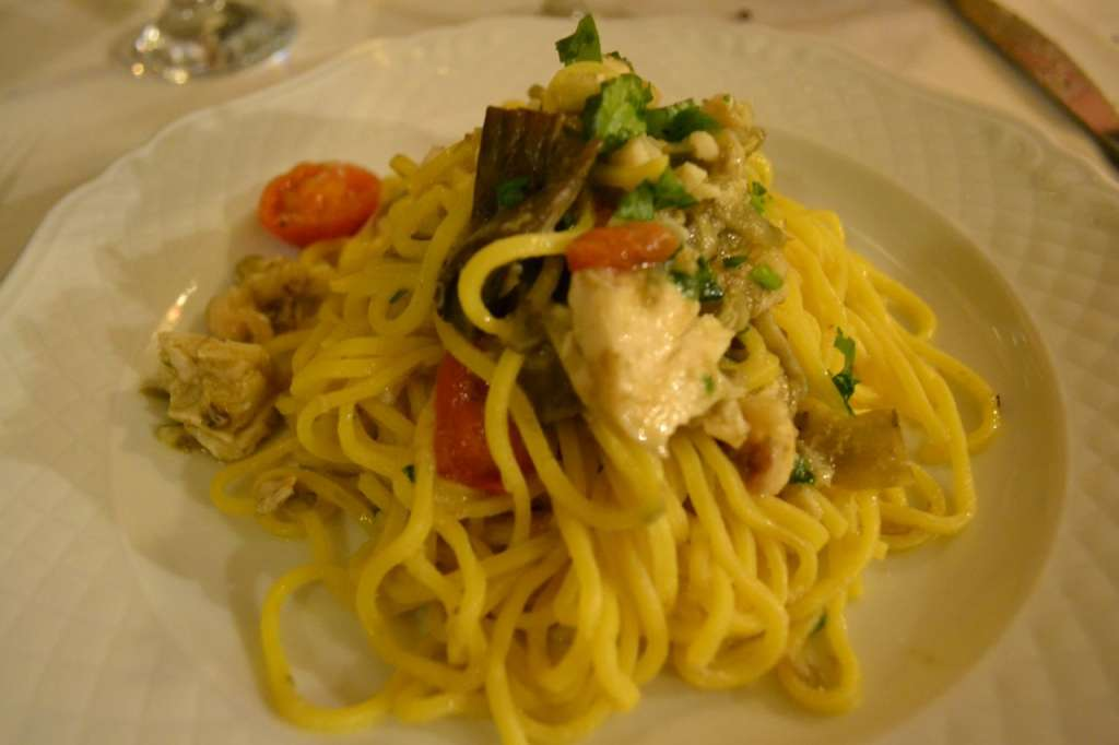 Pasta with artichokes and sea bass