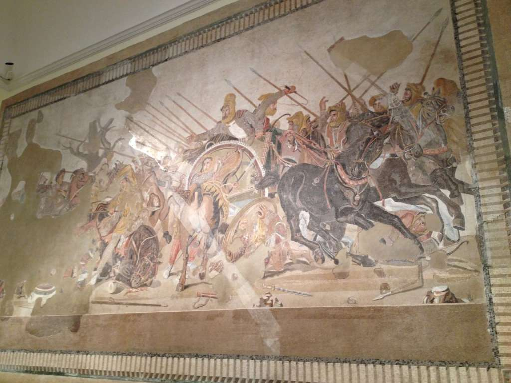 The famous Alexander Mosaic, originally from the House of the Faun in Pompeii.