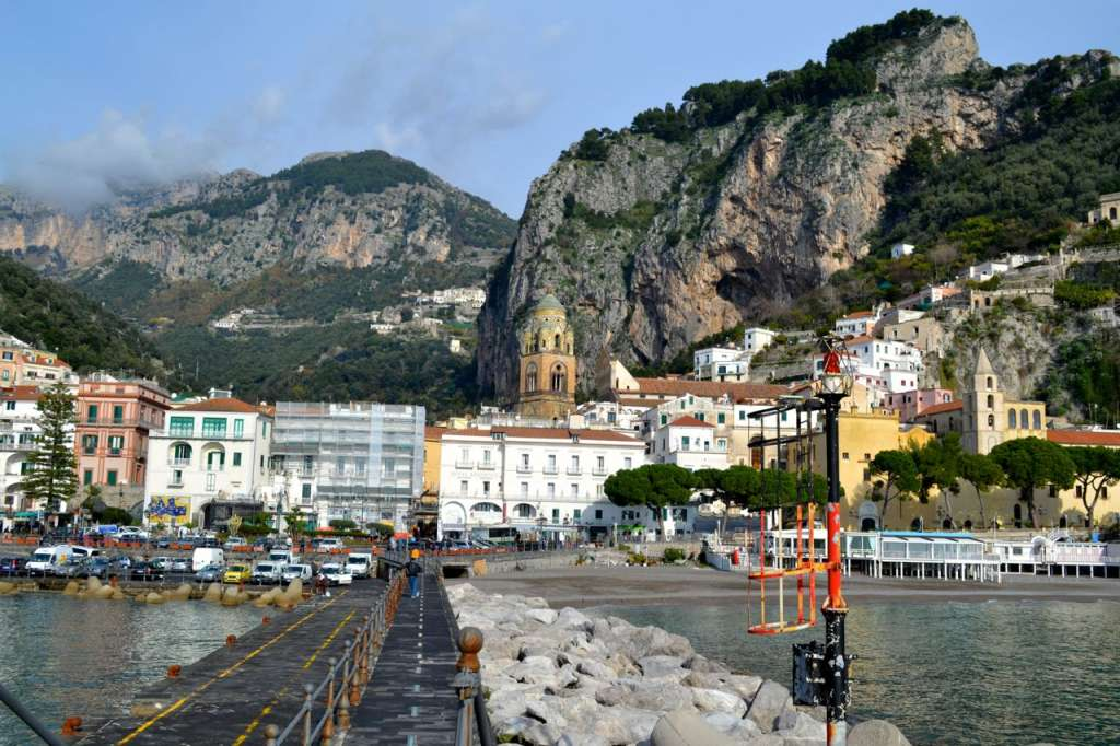 Amalfi town from the pier.