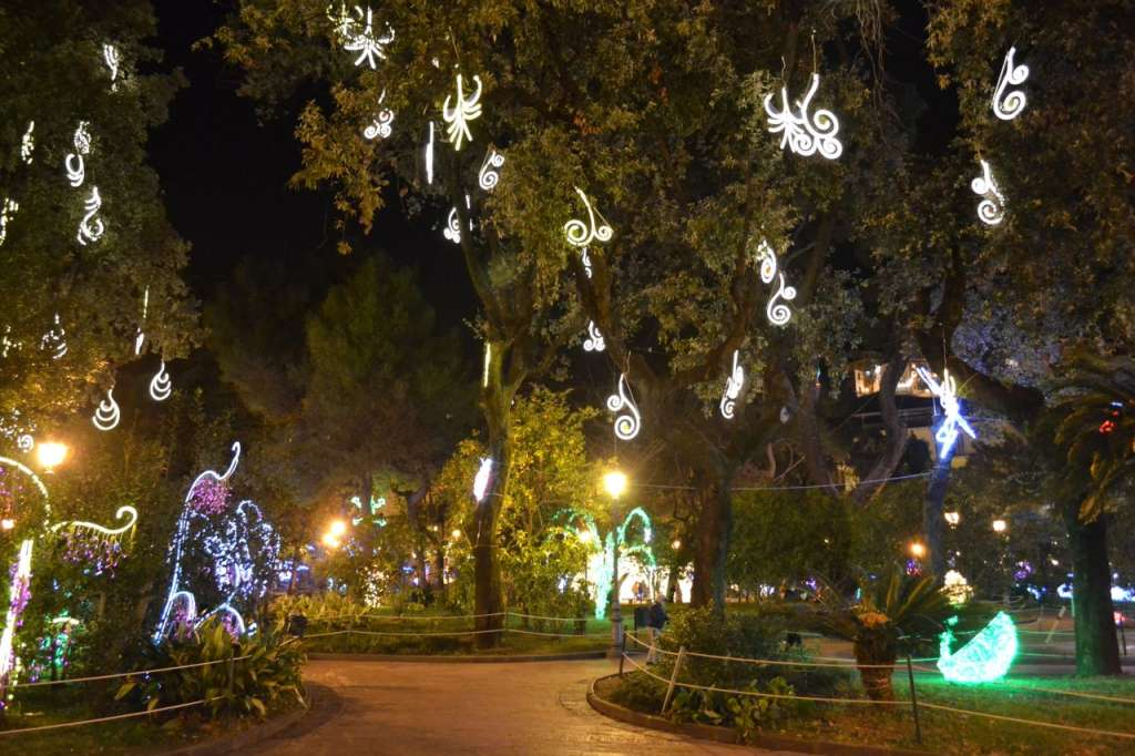 The public gardens lit up for the Luci d'Artista