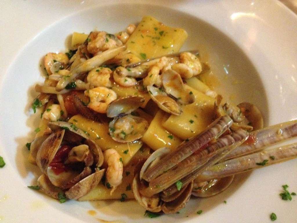 Paccheri with mixed seafood.