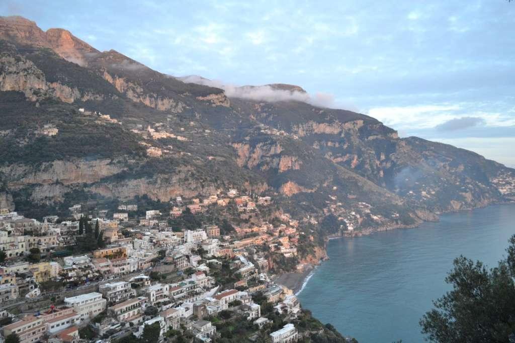 Looking down on Positano