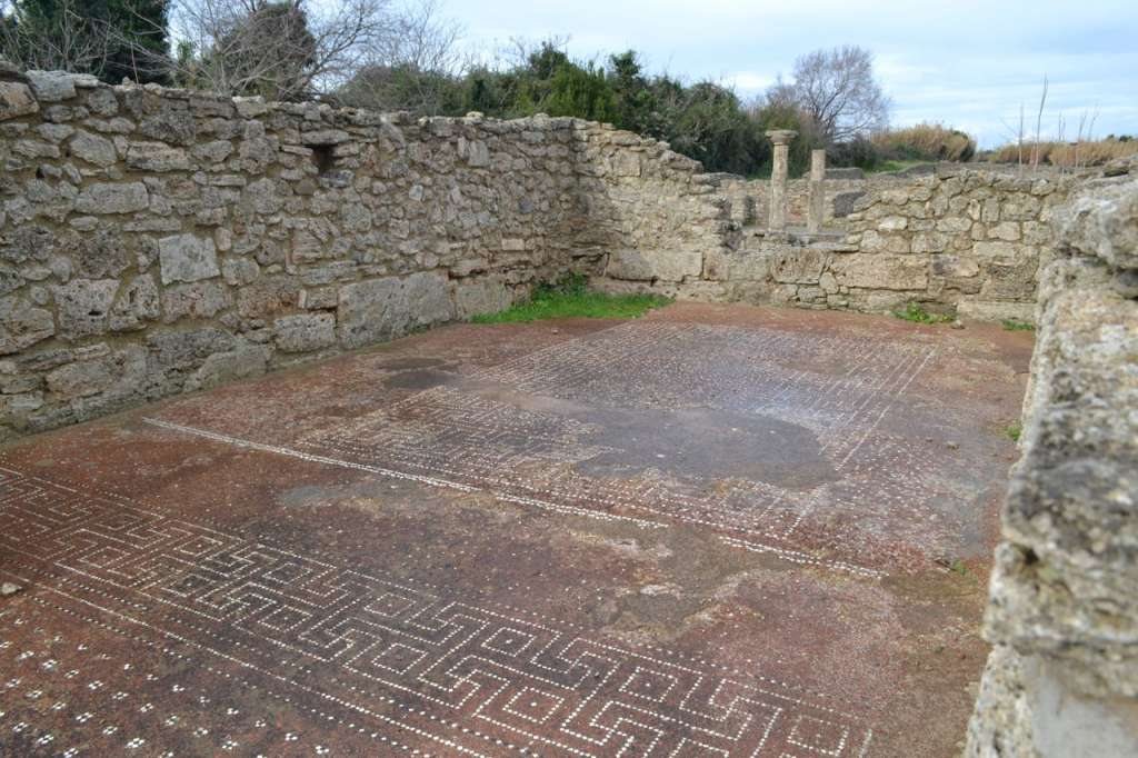A tiled floor in what was once a Roman house.