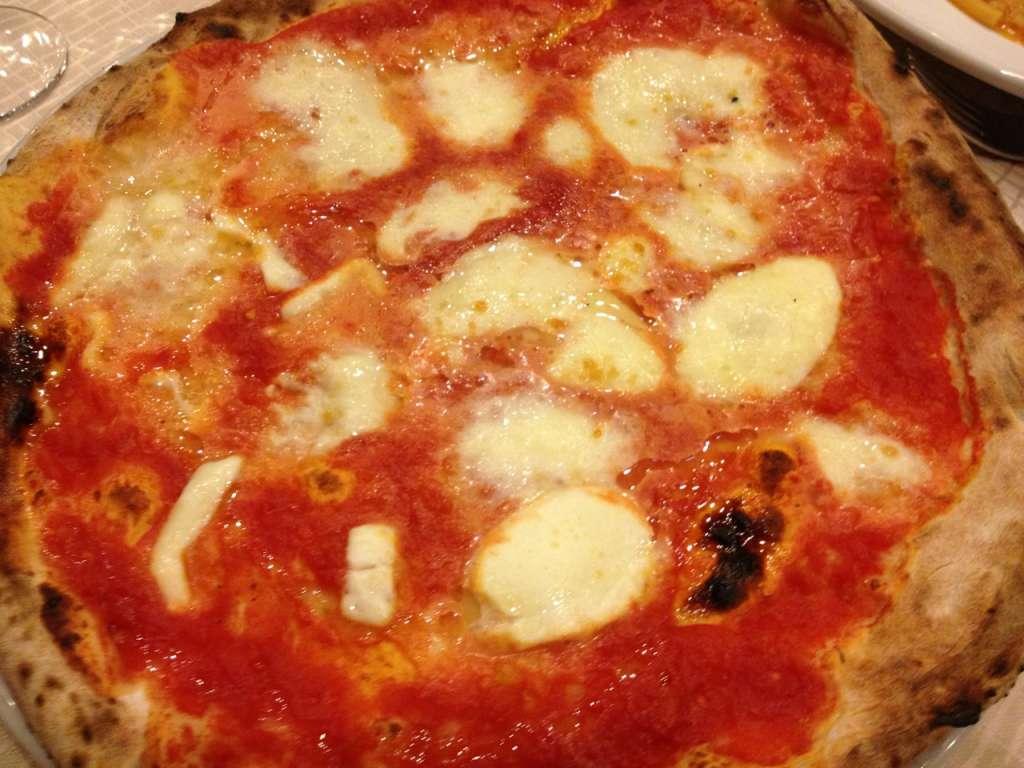 Pizza margherita with buffalo mozzarella.