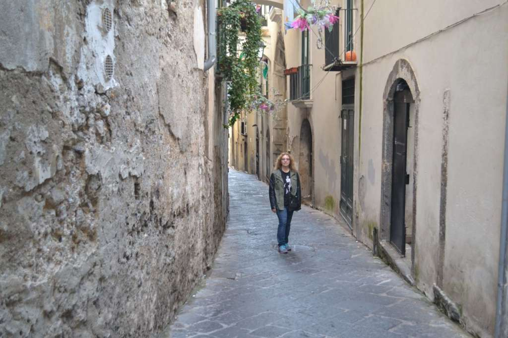 Winding streets in historic Salerno