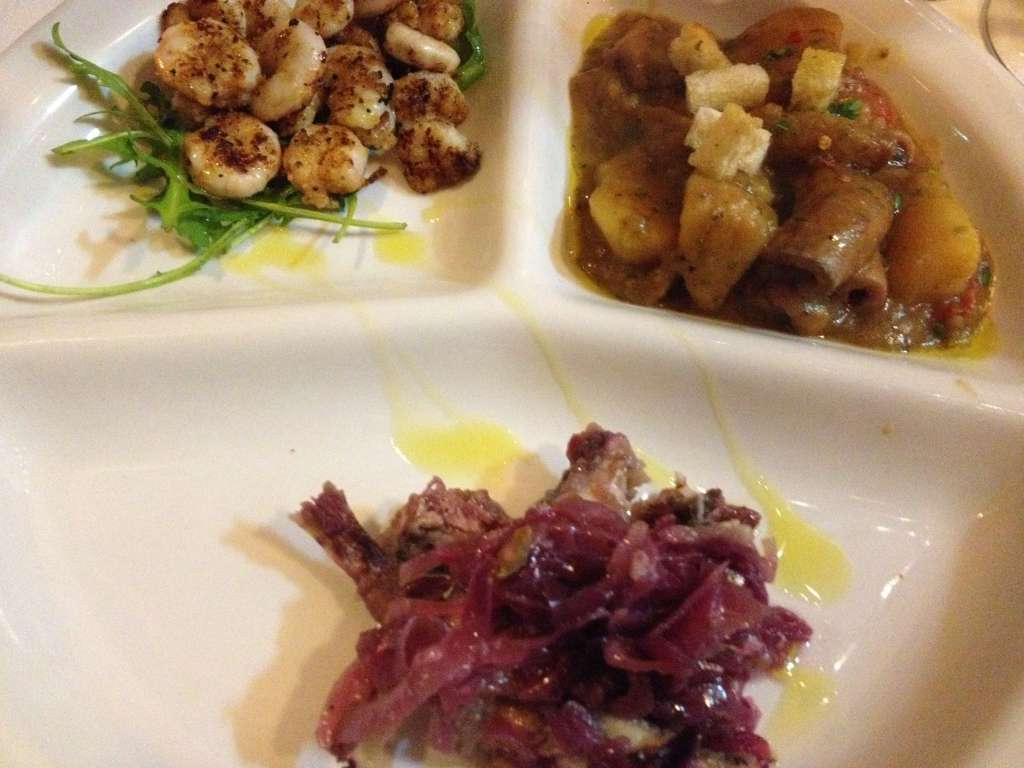 Trio of seafood antipasti.