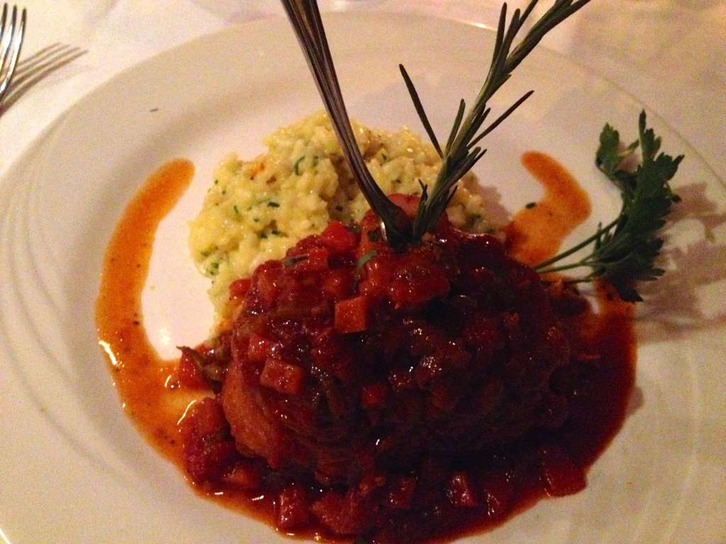 Osso buco with risotto Milanese.