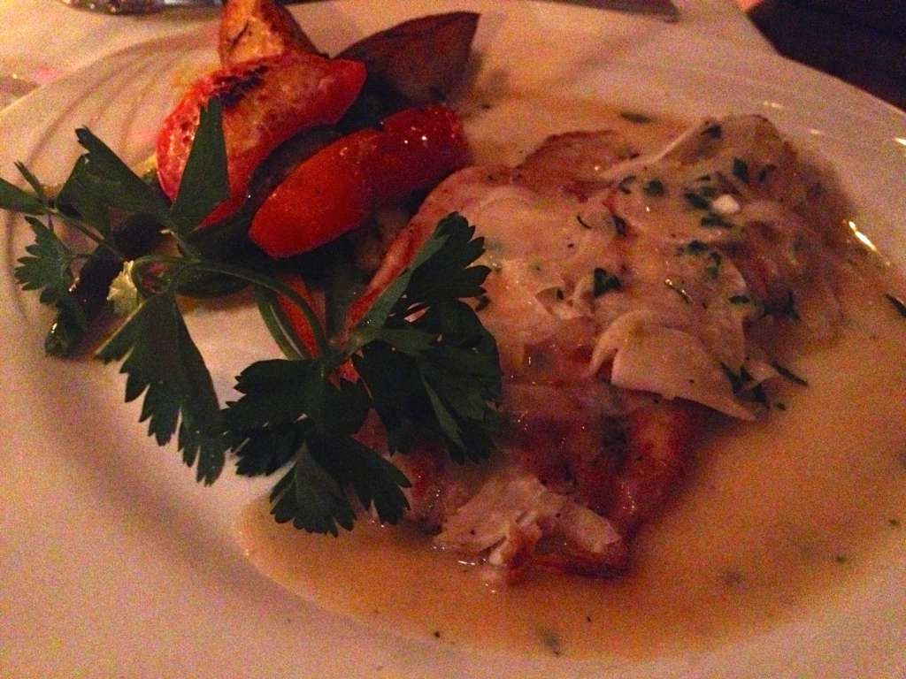 Seared red snapper with fennel.