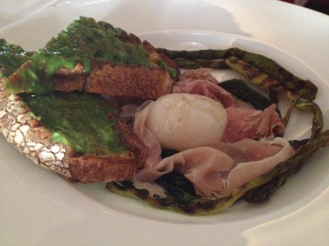 Ramps, asparagus, egg.
