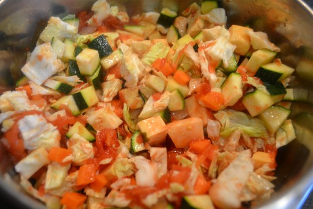 Sauteeing the veggies