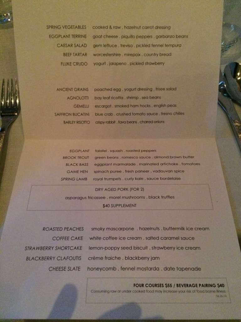 Sbraga menu for June 27, 2014.
