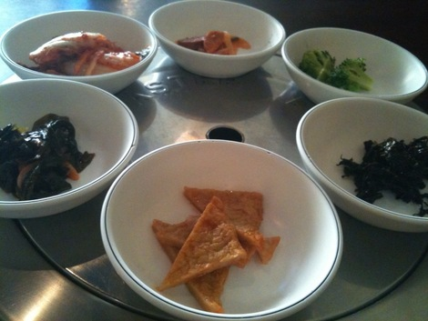 Typical banchan offerings at Miran.