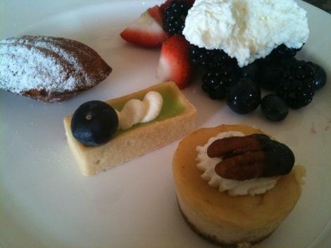 Samplings from the dessert buffet.
