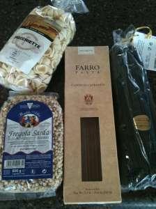 Selections of unique pastas sent as part of the Cuccina Ferrari club.