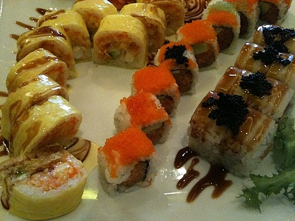 Three house special rolls at Eastern Garden