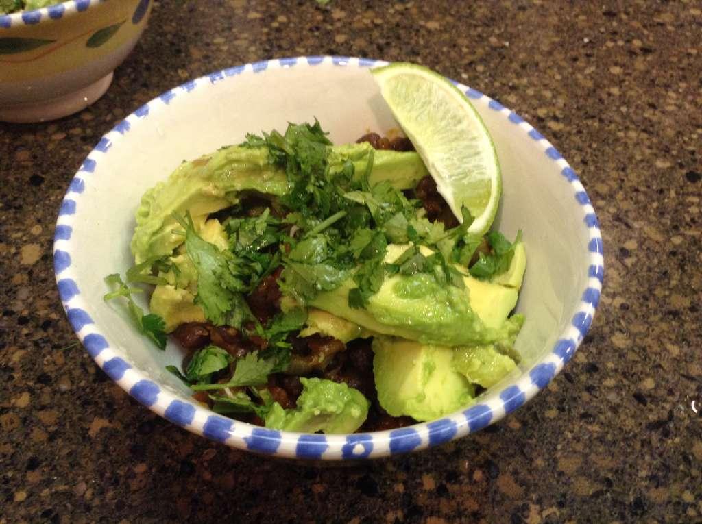 black beans and avocado