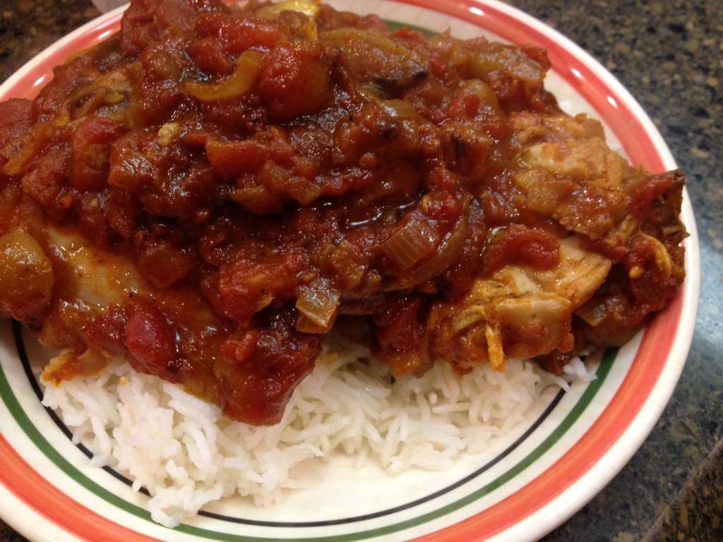 Chicken Dopiaza over Basmati rice.