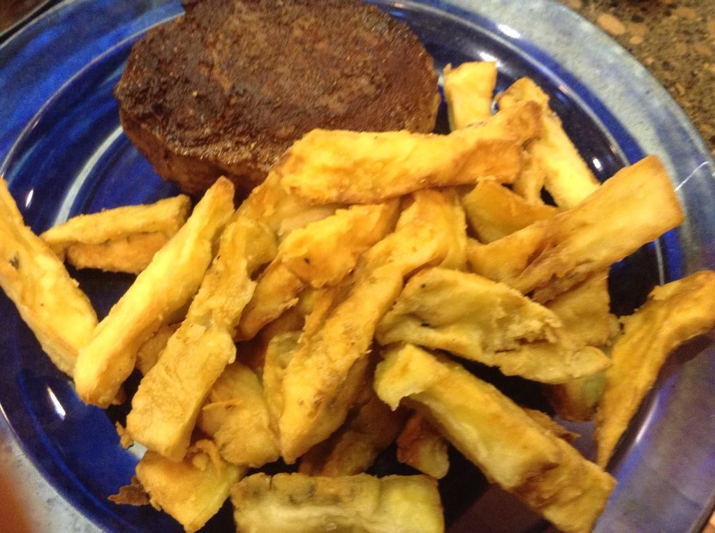sous vide filet mignon with eggplant fries