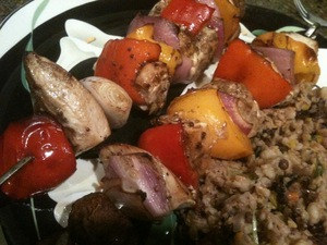Broiled Chicken Skewers in a Balsamic Marinade