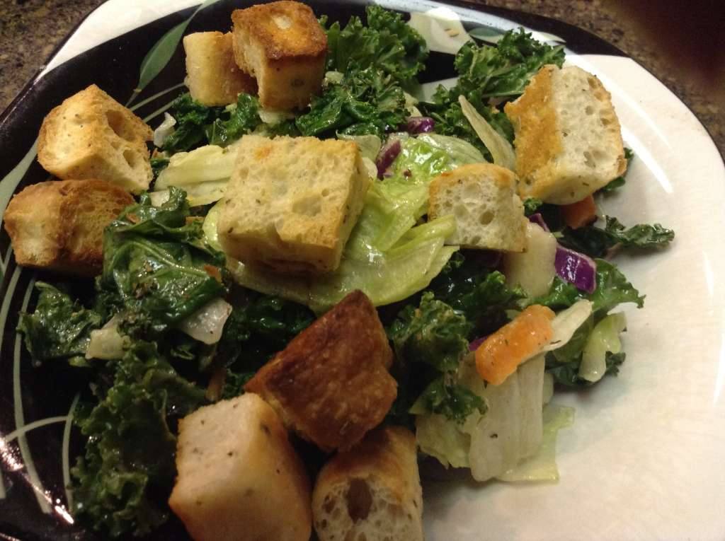 Grilled kale, mixed salad greens and freshly-made croutons
