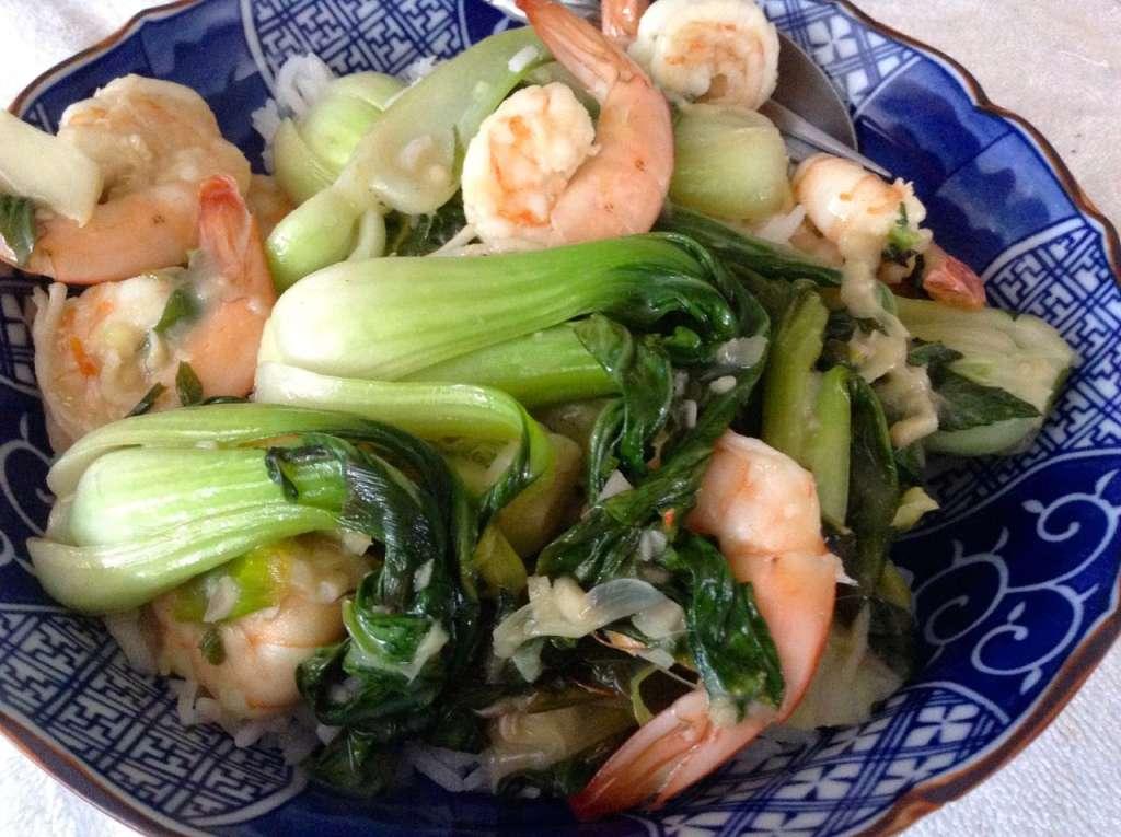 Lemongrass shrimp with baby bok choy