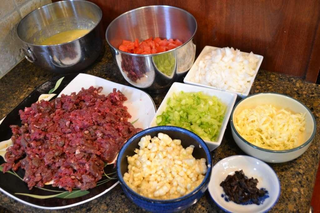 Venison casserole mise en place