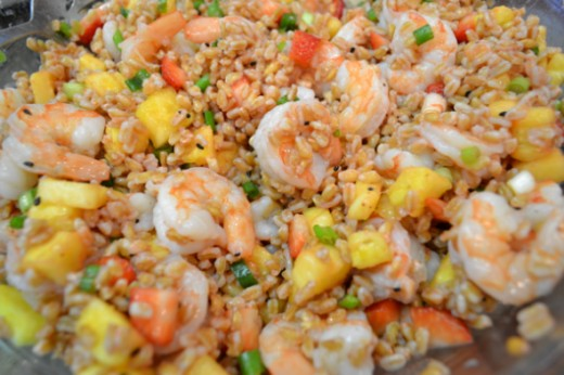 Chilled Farro Salad with Shrimp, Strawberries and Pineapple