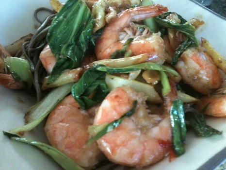 Shrimp Stir Fry with Bok Choy and Wax Beans