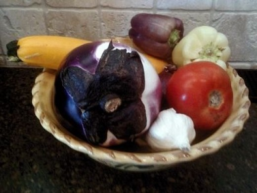 Sicilian eggplant, yellow squash, Jersey tomatoes and purple peppers...perfect for this risotto recipe!