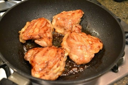 Cooking the chicken thighs